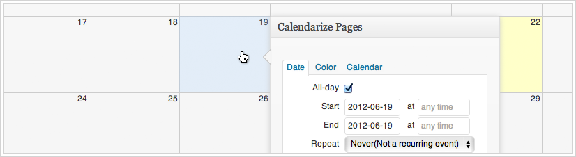 Calendarize it - point and click to add new events