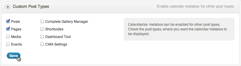 Calendarize it - Support for Custom Post Types