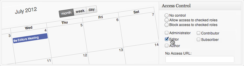 Calendarize it - Events by User Role