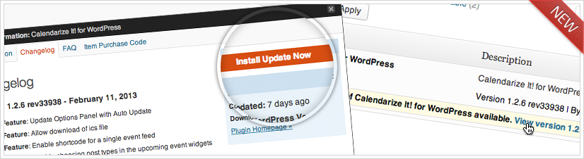 Calendarize it! for WordPress automatic update from within wp-admin.