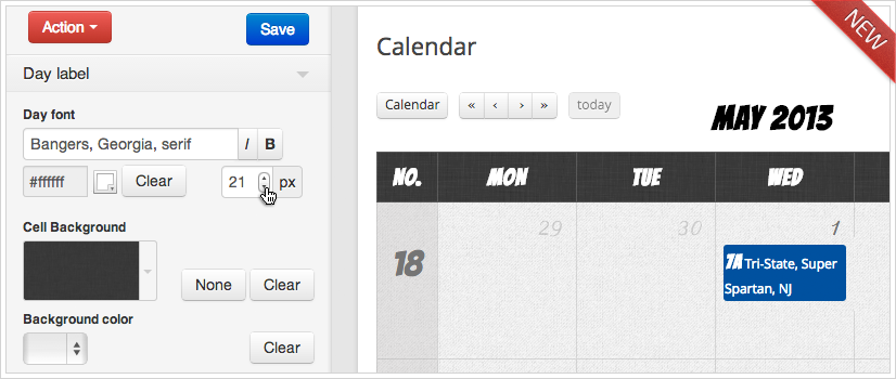 Calendarize it! CSS Editor - Day Font