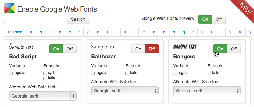 Calendarize it! CSS Editor - Google Fonts