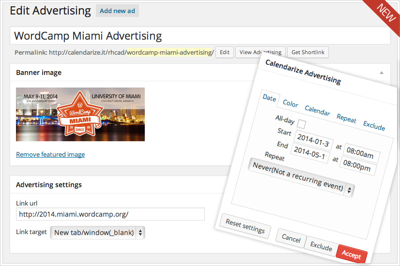 Calendarize it! - Advertising Options - Add new ad