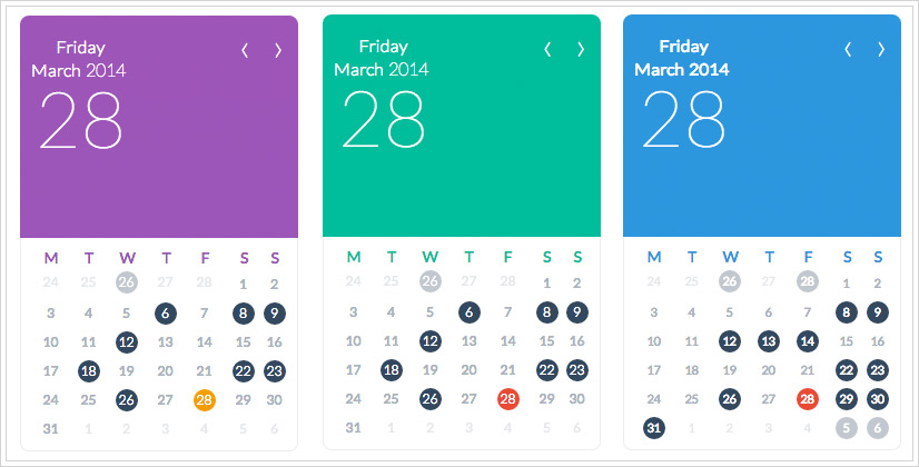 FLAT UI Calendar Widget for Calendarize it! - Enter Your License Key and download the free Visual CSS Editor and change the colors of the FLAT UI Calendar Widget