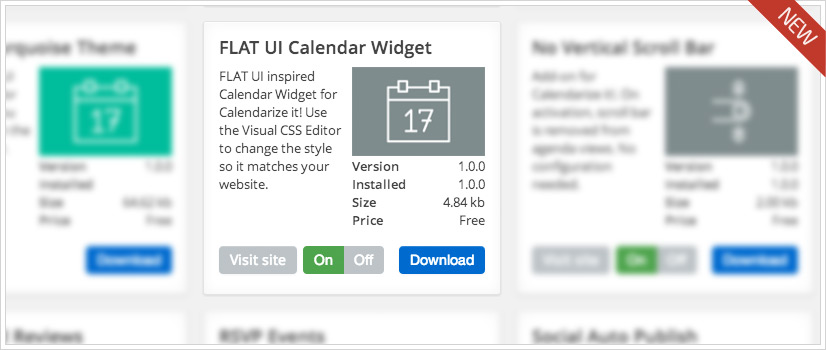 FLAT UI Calendar Widget for Calendarize it! - Enter Your License Key and download the free add-on