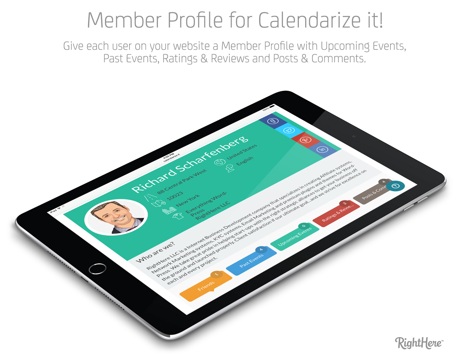 Member Profile for Calendarize it! - Responsive layout works on all devices