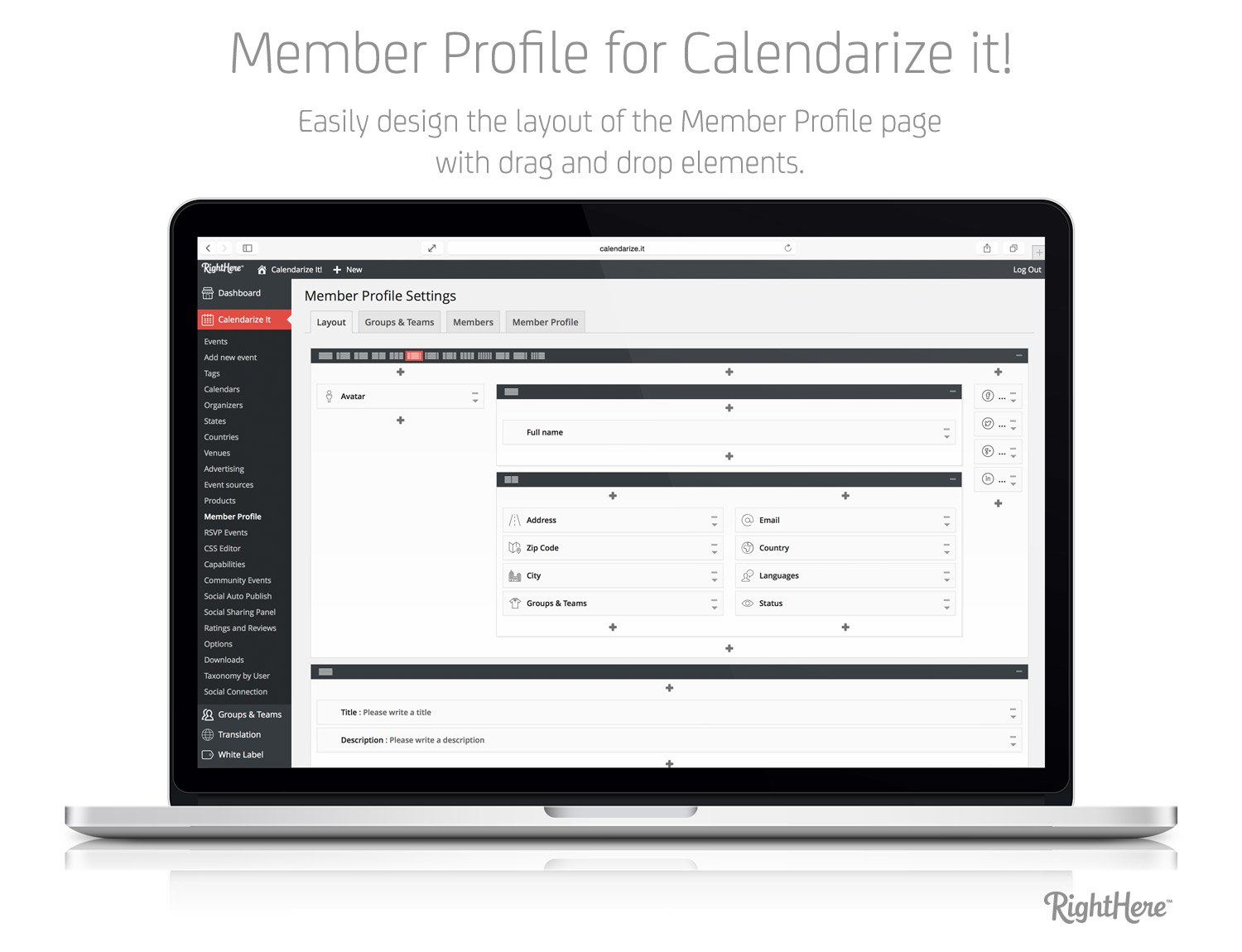 Member Profile for Calendarize it! - Easily design the layout of the Member Profile page with drag and drop elements