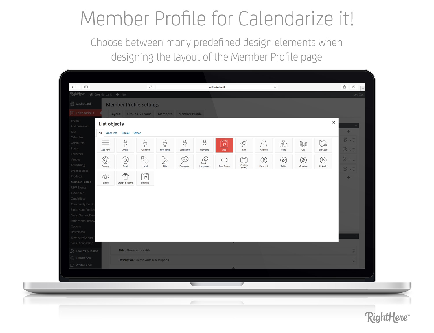 Member Profile for Calendarize it! - Choose between many predefined design elements when designing the layout of the Member Profile page