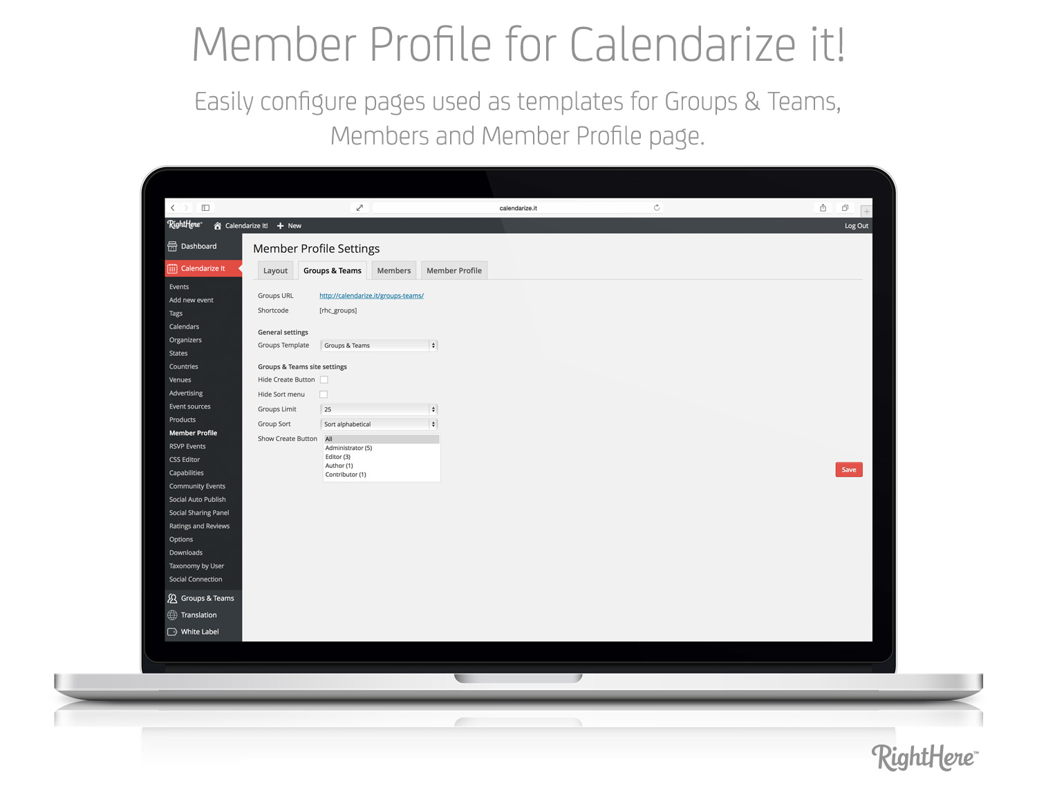 Member Profile for Calendarize it! - Easily configure pages used a templates for Groups & Teams, Members and Member Profile page