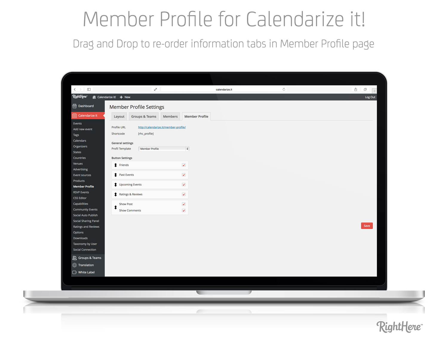 Member Profile for Calendarize it! - Drag and drop to reorder information tabs in Member Profile page