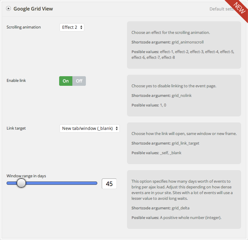 Google Grid View add-on for Calendarize it! - Options Panel