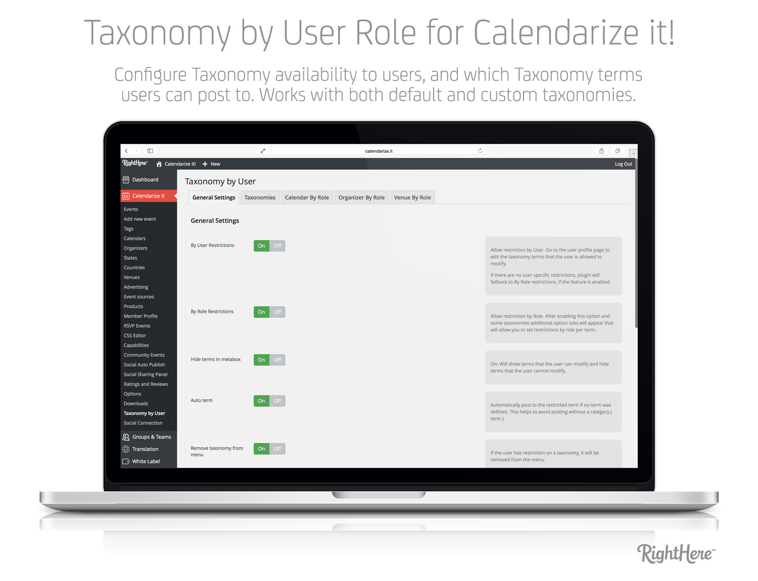 Taxonomy by User Role - General Settings Tab