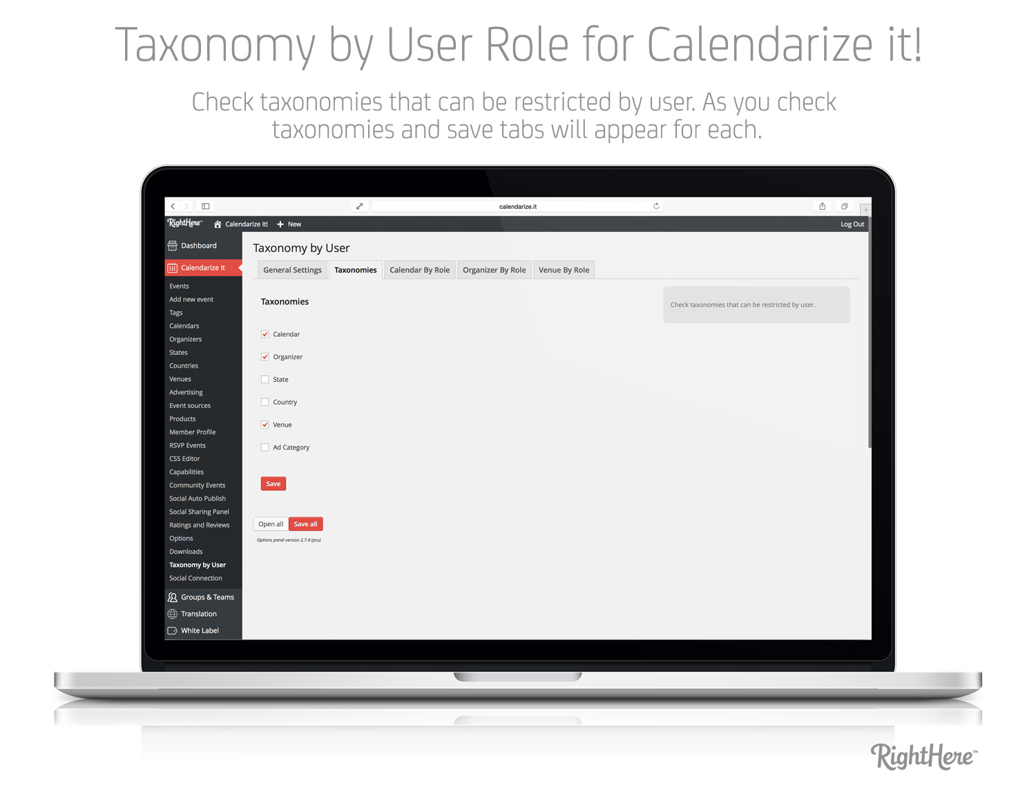 Taxonomy by User Role - Taxonomies tab