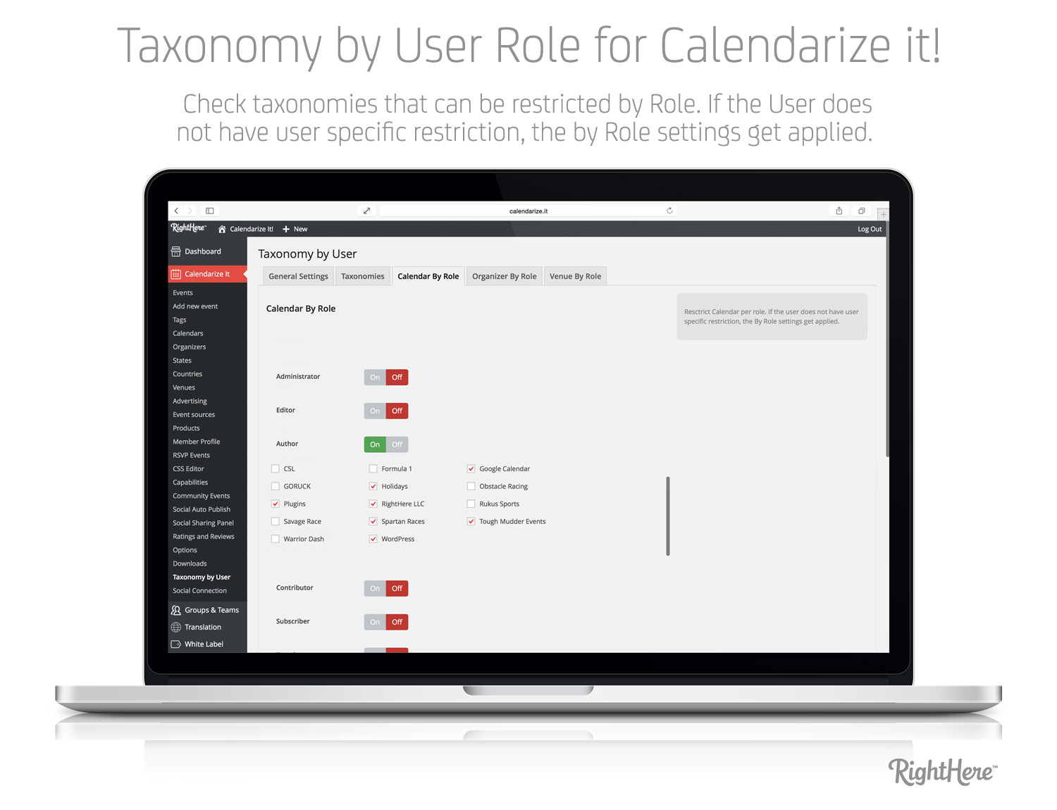 Taxonomy by User Role - Calendar by Role tab