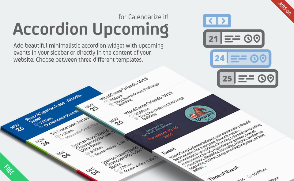 Accordion Upcoming Events for Calendarize it! add-on