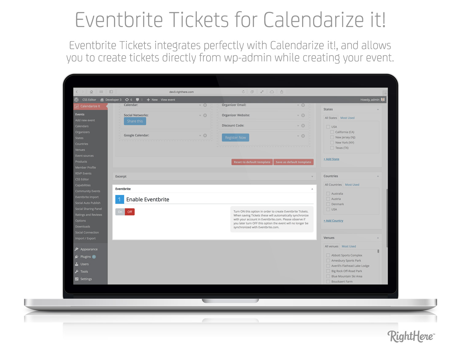 Eventbrite Tickets for Calendarize it! - Create Tickets