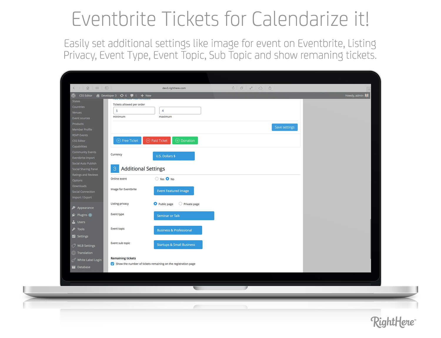 Eventbrite Tickets for Calendarize it! - Additional Settings