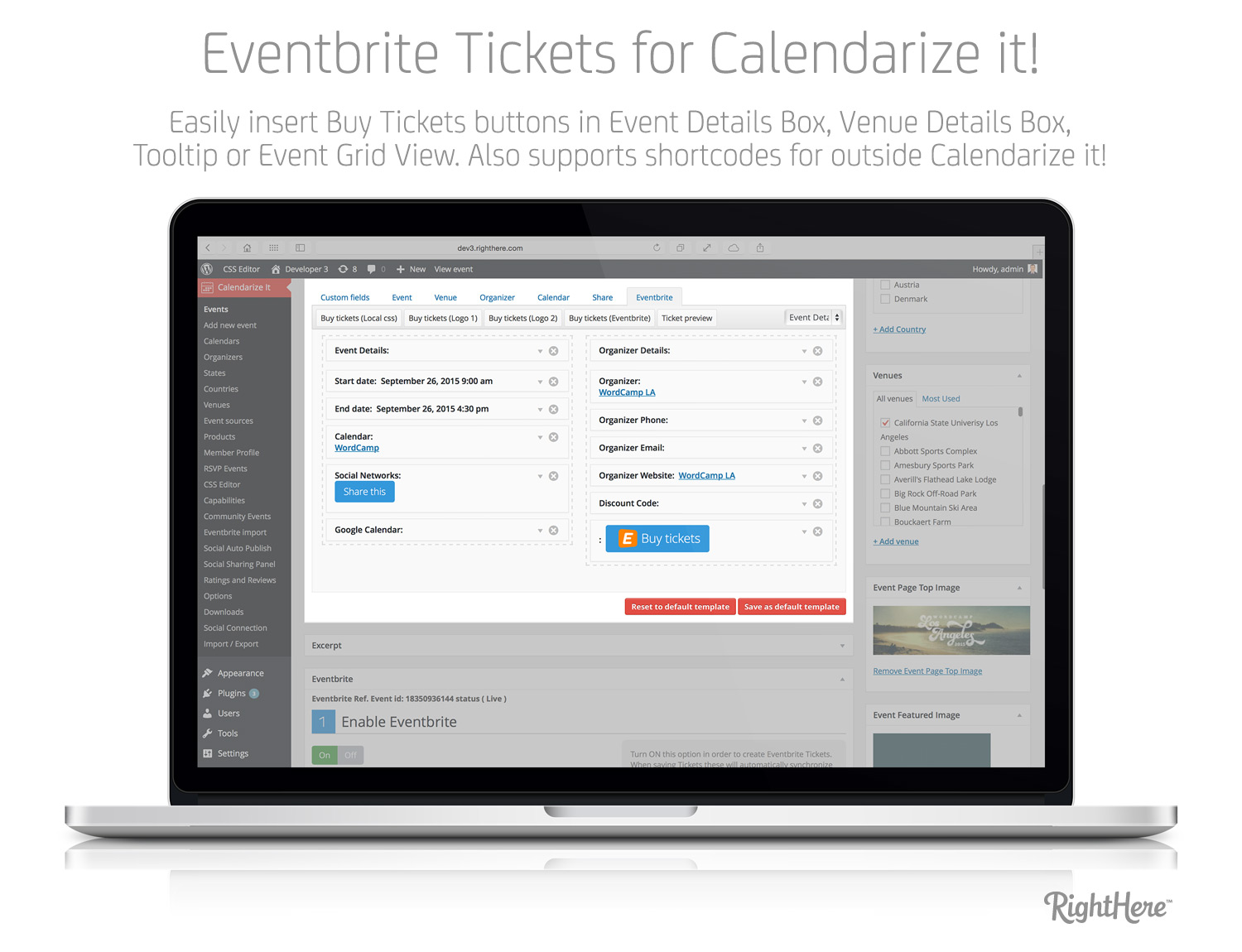 Eventbrite Tickets for Calendarize it! - Insert Buy Ticket Buttons