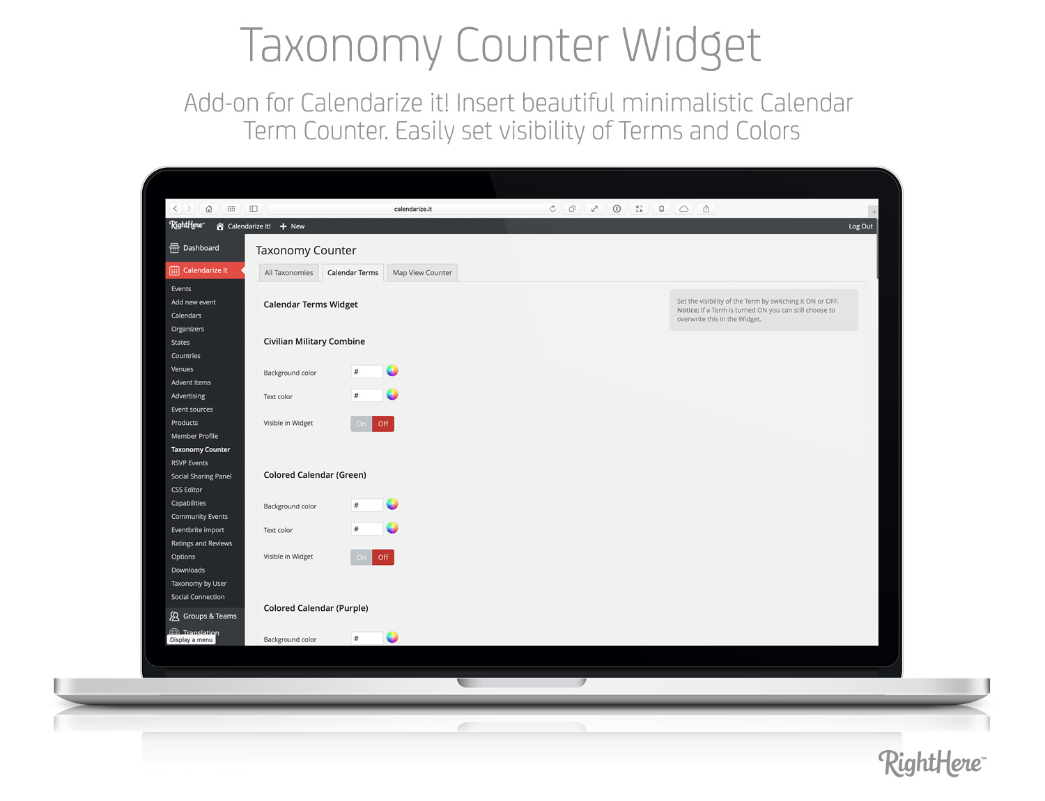Taxonomy Counter Widget add-on for Calendarize it!