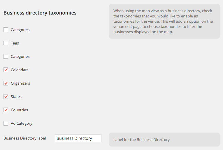 Enable the Business Directory Taxonomies you want to use as filters in the Map View