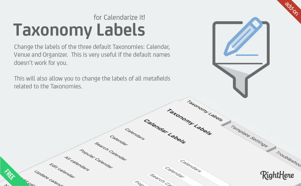 Custom Taxonomy Labels for Calendarize it!