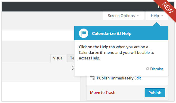 Calendarize it! WordPress Pointer showing location of Calendarize it! Help after installed and turned on.
