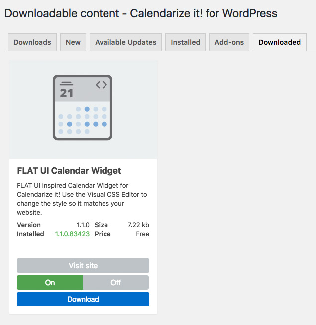 Downloadable Content - FLAT UI Calendar Widget for WordPress